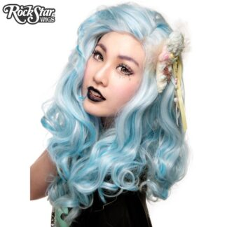 Lace Front Peek-A-Boo - Powder Blue with Aqua Highlight 00695 Front
