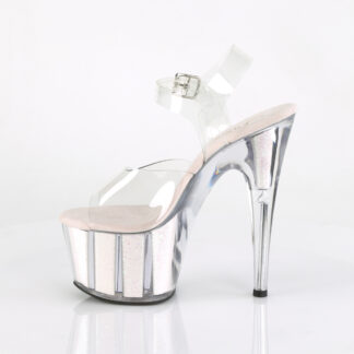 "Pleaser 7"" Adore 708G Sandal - Small Glitter Opal Inserts in Platform Left"