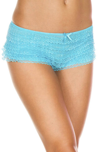 Lace Ruffle Trim Tanga Shorts 115 Neon Blue