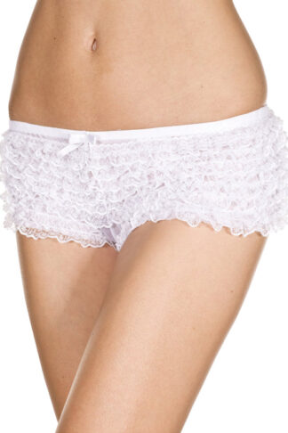 Lace Ruffle Trim Tanga Shorts 115 White