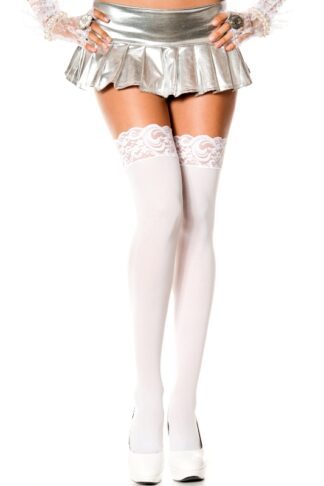 Opaque Thigh Highs with Lace Top White