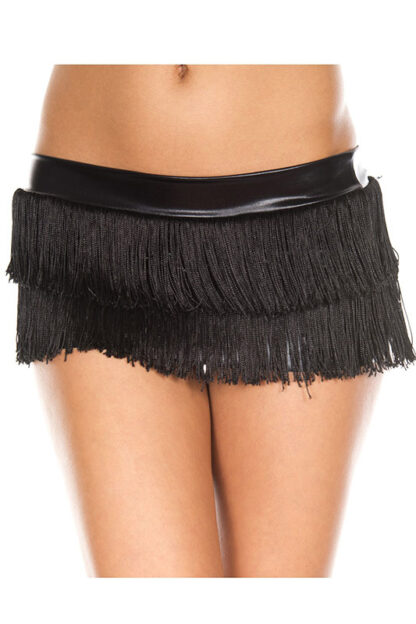 Fringed Mini Skirt Black Fringe on Hot Black Skirt