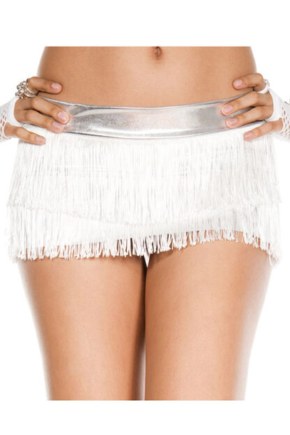 Fringed Mini Skirt White Fringe on Silver Skirt