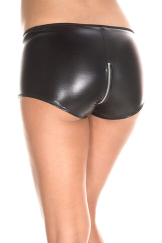 Wet Look Zip Up Shorts 160 Back Angle