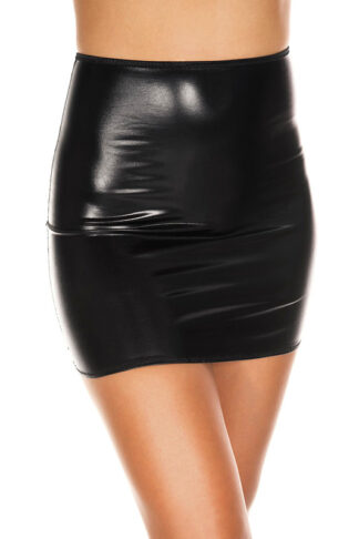 Wet Look High Waisted Mini Skirt Black