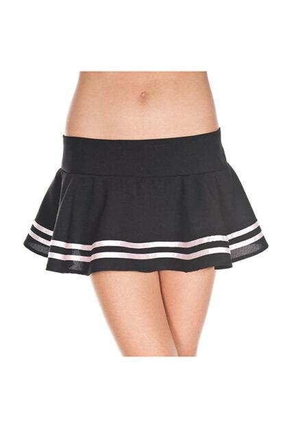 Double Striped Wavy Skirt White Stripes on Black