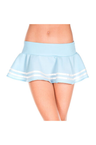Double Striped Wavy Skirt White Stripes on Baby Blue