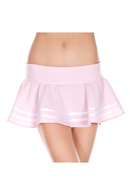 Double Striped Wavy Skirt White stripes on Baby Pink