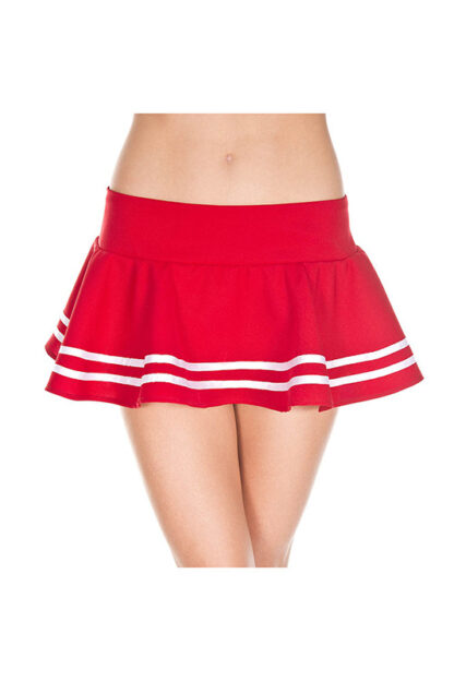 Double Striped Wavy Skirt White Stripes on Red