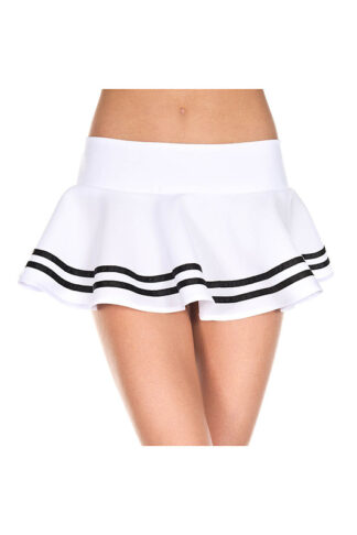Double Striped Wavy Skirt Black Stripes on White