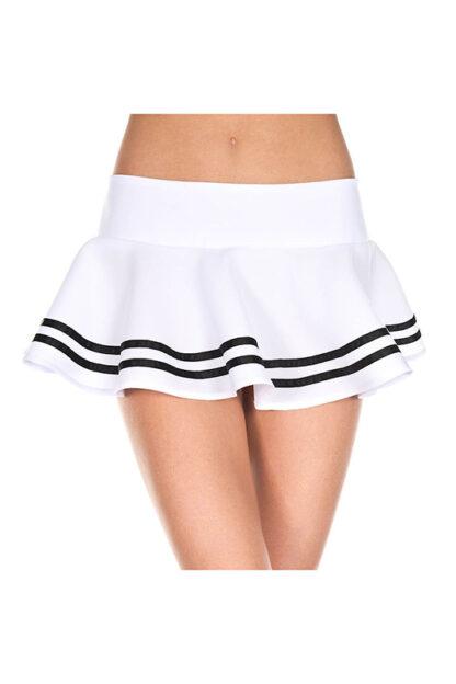 Double Striped Wavy Skirt Black Stripes on White