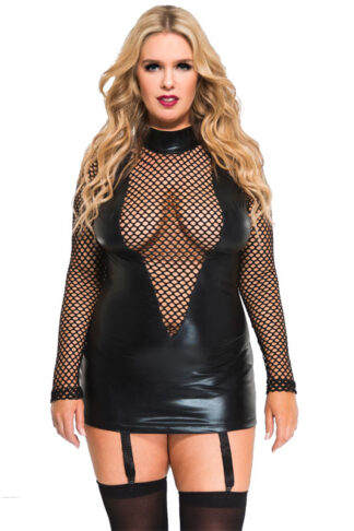 Wet Look and Fishnet Long Sleeve Garter Mini - Queen Size ( Black ) Front