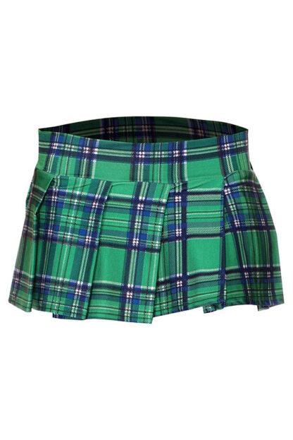 Min Plaid Checkered Skirt Green