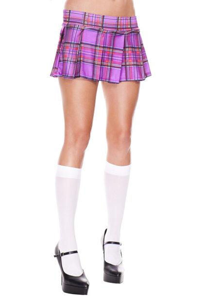 Min Plaid Checkered Skirt Light Purple Wear Look