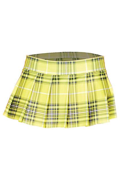Min Plaid Checkered Skirt Neon Yellow