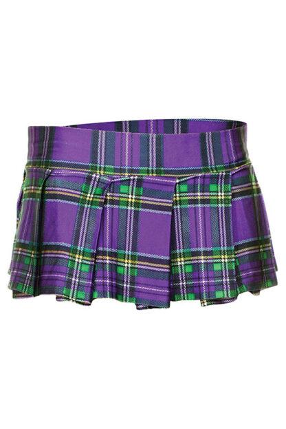 Min Plaid Checkered Skirt Purple