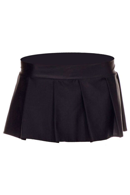 Solid Color Pleated Skirt Black