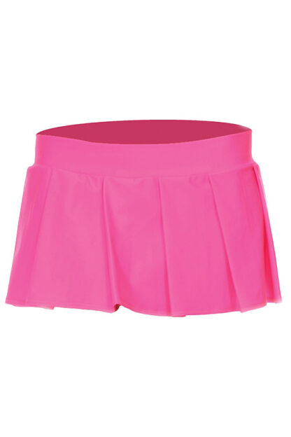 Solid Color Pleated Skirt Hot Pink