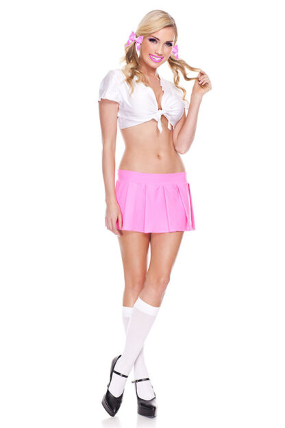Solid Color Pleated Skirt Hot Pink Wear Look