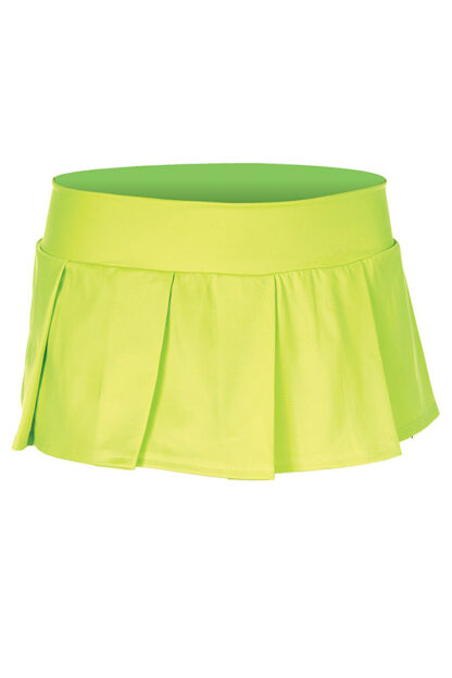 Solid Color Pleated Skirt Neon Green