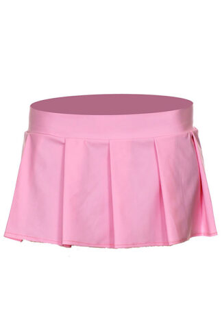 Solid Color Pleated Skirt Pink