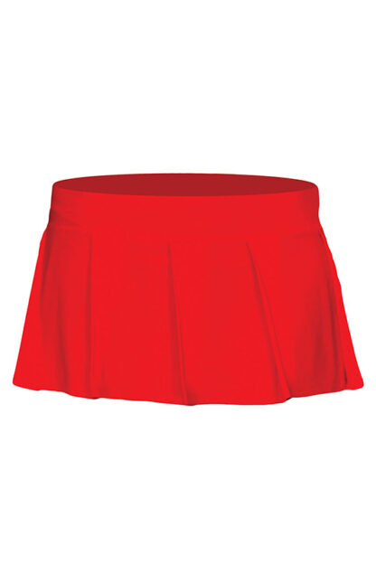 Solid Color Pleated Skirt Red