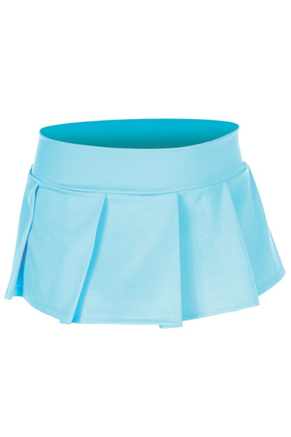 Solid Color Pleated Skirt Turquoise