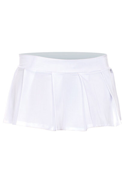 Solid Color Pleated Skirt White