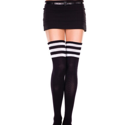 Athletic Striped Thigh Highs 3 White Stripe On Black