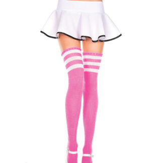 Athletic Striped Thigh Highs 3 White Stripe On Pink