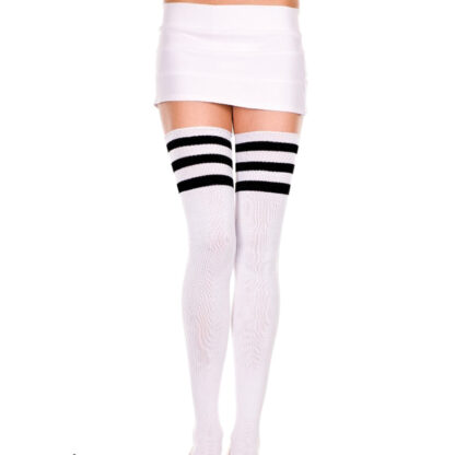 Athletic Striped Thigh Highs 3 Black Stripe On White