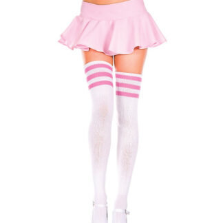 Athletic Striped Thigh Highs 3 Pink Stripe On White