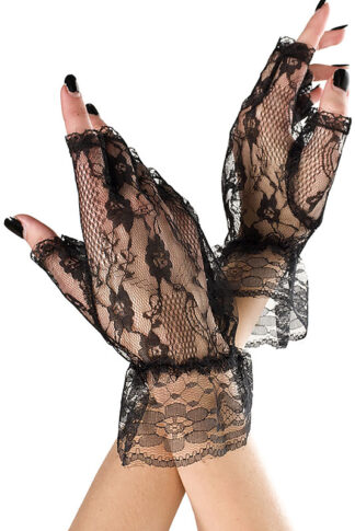 Wrist Length Lace Fingerless Gloves 428 Black