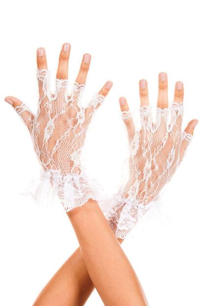 Wrist Length Lace Fingerless Gloves 428 White
