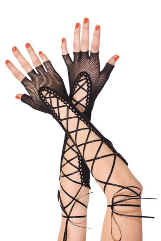 Fingerless Lace Up Fishnet Elbow Length Warmer 433 Black