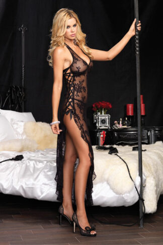 Spanish Rose Lace Long Dress with G-String Set - Black