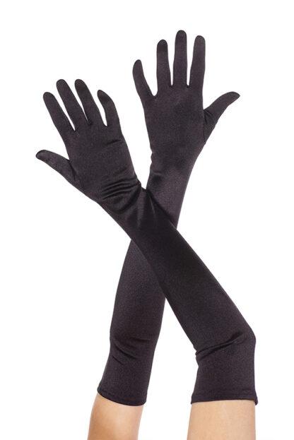 Extra Long Satin Gloves 452 Black