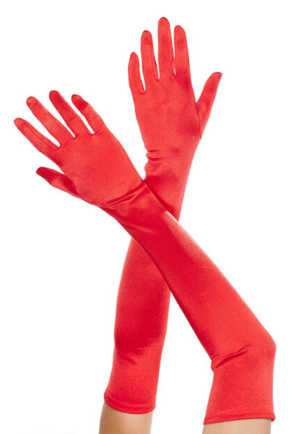 Extra Long Satin Gloves 452 Red