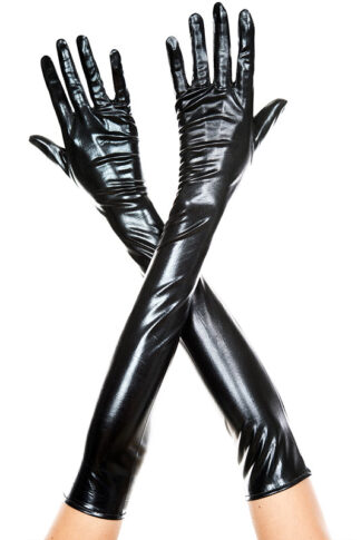 Extra Long Metallic Gloves 457 Black