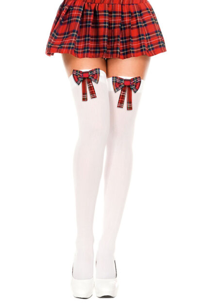 Plaid Bow Thigh High Checkered Red Ribbon White