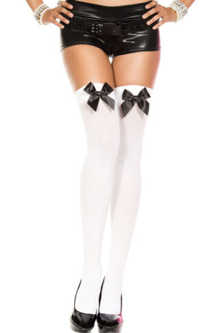 Satin Bow Opaque Thigh High Black Ribbon on White