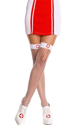 Nurse Mini Diamond Net Thigh Hi White