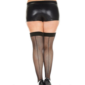 Back Seam Fishnet Thigh Hi Queen Size Black