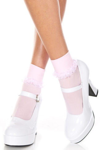 Ankle High with Ruffle Trim Baby Pink