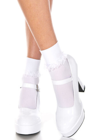 Ankle High with Ruffle Trim White