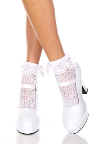 Heart Net Design Ankle High with Ruffle Trim White