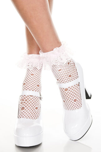 Net Pattern Anklet with Ruffle Trim Baby Pink