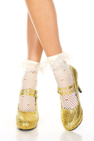 Net Pattern Anklet with Ruffle Trim White