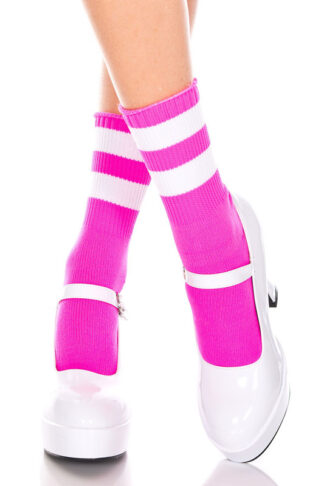 Acrylic Ankle High with Striped Top 2 White Stripes on Hot Pink