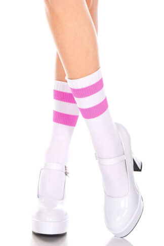 Acrylic Ankle High with Striped Top 2 Pink Strips on White